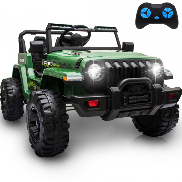 12V  Kids Electric Car Ride On Cars, Battery Powered Truck Wheels(Green)