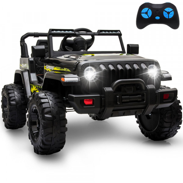 12V Kids Electric Car Ride On Cars, Battery Powered Truck Wheels(Black)